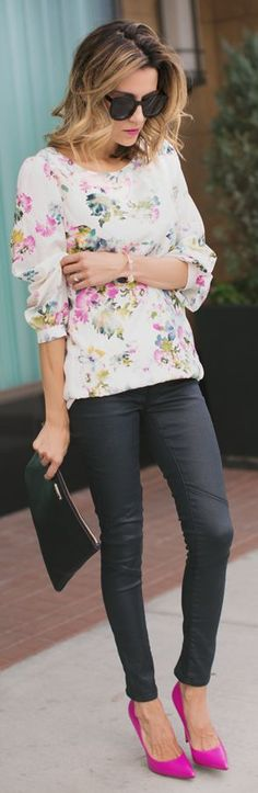 Fall street style fashion White Multi Pastel Floral Loose Blouse by Hello Fashion