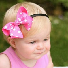 Pretty Polka Dot Baby Hard Headband and Removable Bow Clip  http://www.melondipity.com/collections/headbands?gclid=CNyU7djivLoCFWpk7Aod5wgAWg