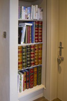 Faux Books in a bookshelf.
