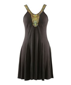 Look at this #zulilyfind! Black Beaded Yoke Dress - Women by Peppermint Bay #zulilyfinds