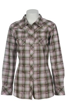 Ariat® Ladies Moss Green & Pink Alleana Plaid Long Sleeve Western Shirt 10009802 | Cavender's Boot City $43.98