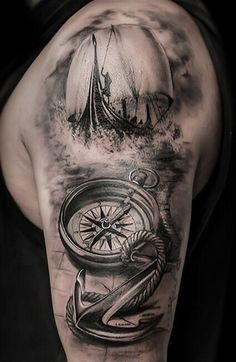Compass, Sea and Sailing Ship- Realistic Tattoo by Antonio Orlando- Taurisano, L. - Compass, Sea and Sailing Ship- Realistic Tattoo by Antonio Orlando- Taurisano, Lecce- Italy - Viking Ship Tattoo, Viking Tattoo Sleeve, Realistic Tattoo Sleeve, Arm Sleeve Tattoos, Viking Tattoos, Tattoo Sleeve Designs, Sea Tattoo Sleeve, Segel Tattoo, Nautical Tattoo Sleeve