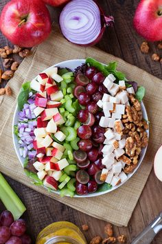 Chicken Walnut Salad with Grapes and Apples
