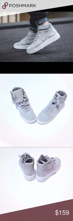 🐰Nike Air Force 1 Flyknit Mid Wolf Grey Size GS6 Nike Flyknit Mid Grade School/Youth Size 6/Women's 7.5  Wolf Grey/White Nike Shoes Sneakers