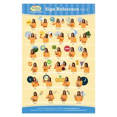 This x full-color chart shows the 28 signs featured in the Preschool and Child Care Program, Vol. 2 and the Baby Signing Time Vol. Baby Sign Language Video, Sign Language For Toddlers, Sign Language Phrases, Sign Language Interpreter, Baby Signing Time, Toddler Chart, Classroom Management Techniques, 2 Baby, British Sign Language