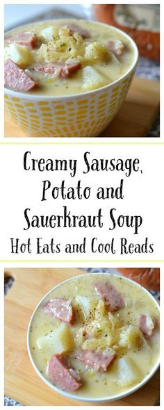 Delicious and easy 30 minute meal! Perfect for weeknights or lunch and the sauerkraut adds a surprising touch of flavor! Creamy Sausage, Potato and Sauerkraut Soup Recipe from Hot Eats and Cool Reads Sauerkraut Soup Recipe, Recipes With Sauerkraut, Sausage Sauerkraut, Soup Recipes, Cooking Recipes, Dessert Recipes, Dishes Recipes, Vegan Dishes, Recipes