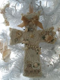 ANTIQUE  LACE CHRISTMAS Ornament Ivory  Ecru Wall by fragilegarden, $68.00