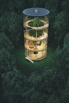 "culturenlifestyle: "" Stunning Innovative Cylindrical Glass House Built Around A Tree Kazakh architect Aibek Almassov re-imagines the concept of living in a ""treehouse"" by ingeniously designing a. Architecture Durable, Green Architecture, Sustainable Architecture, Amazing Architecture, Architecture Design, Build Your Dream Home, House Built, Glass House, Exterior Design"