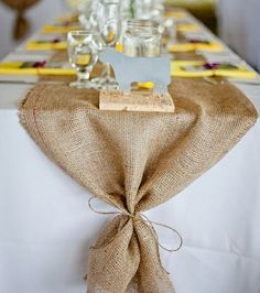 burlap table runners with yellow