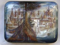 The Old Monastery - a box, Fedoskino lacquer painting technique