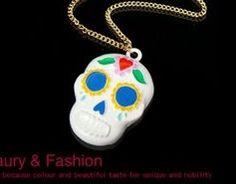 Betsy inspired white skull necklace pendant great for diy phone bling Skull Necklace, Pendant Necklace, Skull And Bones, Skulls, Craft Supplies, Bling, Inspired, Medium, Phone