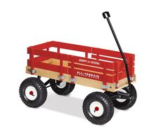 Wagon Radio Flyer Red All-Terrain Cargo Extra Large Body Rubber Tires Wood Kids  #RadioFlyer