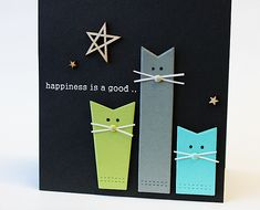 kitty cats Hi, and welcome to another day of sneaky peeking with SugarPea Designs . One of today's featured products is a SugarCuts die set that . Kids Birthday Cards, Handmade Birthday Cards, Greeting Cards Handmade, Cat Cards, Kids Cards, Tarjetas Diy, Animal Cards, Card Making Inspiration, Card Tags