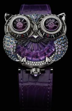 MB&F and Boucheron have created jwlrymachine, a spectacular owl themed wristwatch. What could possibly bring together the House of Boucheron, Purple Love, Purple Rain, All Things Purple, Shades Of Purple, Purple Stuff, Deep Purple, Purple Jewelry, Owl Jewelry, Purple Accessories