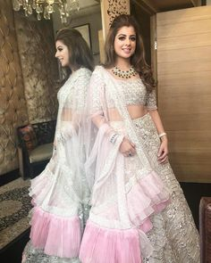 Indian wear, sangeet outfit, indian wedding hairstyles, indian designer out Indian Bridal Outfits, Indian Designer Outfits, Indian Dresses, Designer Dresses, Indian Clothes, Designer Wear, Bollywood Hairstyles, Lehenga Hairstyles, Anime Hairstyles