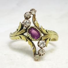 Antique Art Nouveau 1900's Ruby & Old European Cut Diamond Anniversary Cocktail Ring 18k | Antique & Estate Jewelry | Jewelry Finds
