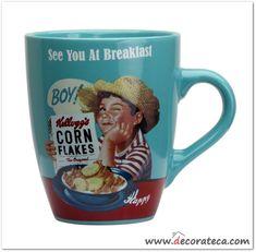 """Taza de desayuno azul retro Kellogg's """"Boy"""". Decoración de cocinas retro vintage cereales Kellogg's - WWW.DECORATECA.COM"""