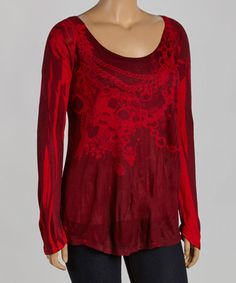Another great find on #zulily! Red & Black Status Top - Plus by Poliana Plus #zulilyfinds