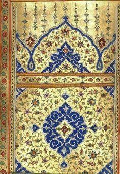 Blue and gold Islamic art Arabesque, Paisley Art, Persian Pattern, Islamic Patterns, Sacred Architecture, Byzantine Art, Iranian Art, Turkish Art, Foil Art
