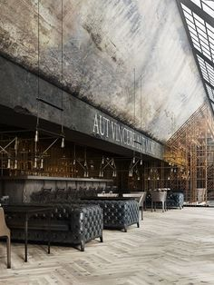 "Vintage Industrial Decor Restaurant ""Aut vincere aut mori"" on Behance by Daniel Nagaets Design Bar Restaurant, Deco Restaurant, Restaurant Lounge, Industrial Restaurant Design, Modern Restaurant, Luxury Restaurant, Black Restaurant, Restaurant Lighting, Restaurant Offers"