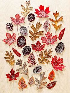 Autumn Art: Use beautiful fall leaves as canvases for doodle designs. Press colorful finds inside a heavy book for about 10 days, then draw on them with metallic paint markers. To add a bit more strength and shine, seal the finished leaves with Mod Podge. Autumn Leaves Craft, Autumn Crafts, Fall Crafts For Kids, Nature Crafts, Crafts To Make, Kids Crafts, Arts And Crafts, Autumn Art Ideas For Kids, Winter Craft
