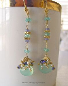 Aqua Chalcedony, apatite, tanzanite czs, & seed pearls on 22kt gold vermeil dangle earrings | online upscale artisan handcrafted jewelry boutique | Schaef Designs gemstone & pearl earrings | San Diego, CA