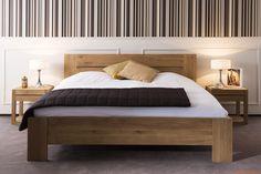 Azur | Cama matrimonial con estructura en madera de roble (medida XL: 189 x 209 cms - compatible con colchón 180 x 200 cms), con mesita de noche Azur-N