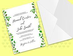 Tropical Wedding Invitation Template,Green Wedding #weddings #invitation @EtsyMktgTool #weddinginvites #branchesinvites #purple