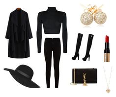 """""""Black and Gold"""" by cmyrick93 on Polyvore featuring Topshop, WearAll, 7 For All Mankind, Yves Saint Laurent, Bobbi Brown Cosmetics, Betsey Johnson, Loushelou, women's clothing, women's fashion and women"""