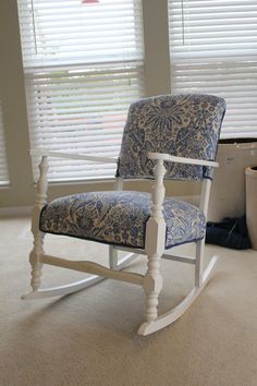 vintage rocking chair, redone!  Think I would like this better with maple stain, but love the fabric