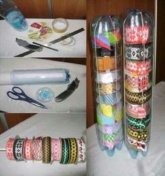 Ribbons organized by upcycling used plastic bottles