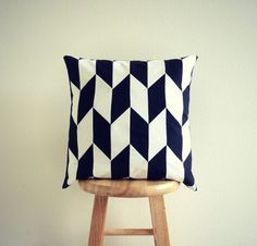 Modern Black and White Herringbone Patchwork Pillow Cover