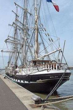 """""""Le Belem"""" (short for Bethlehem) French 3 masted barque launched in 1836  ~ Served as a cargo ship between S. America & France, escaped Mount Pelée eruption in 1902 ~ Sold several times, traveled the seven seas as a private luxurious yacht, escaped an earthquake in Japan & was sold again to become a training ship ~ In 1965 considered too old, she was moored in Venice. In 1970 she finally came back to her home port as """"Belem"""" ~ Restored to her original beauty she is now a French training…"""
