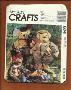 McCalls 674 Mama Bear Papa Bear & Baby Girl Bear by DaisyMaeandMe, $12.00