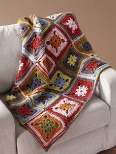 8-Color Afghan -- uses one block, but very detailed instructions for color combinations so that your paleete is well distributed throughout the finished project. from Lion Brand