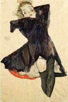 Girl in Blue Dress, 1911 . Egon Schiele