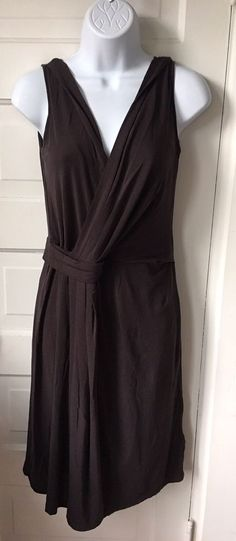 """Max Mara Weekend knit jersey dress in chocolate brown. Faux wrap styling with lining. Size medium. Shoulder to shoulder: 17"""". Underarm to underarm: 18"""".   eBay!"""