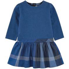robe bi-matière Haut : Molleton en coton Bas : Twill de coton boutons pression dos