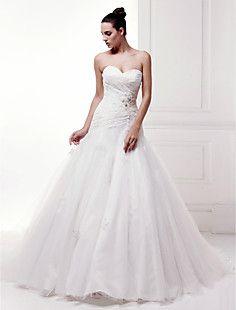 una línea de barrido cariño tul / vestido de boda del tren d... – CLP $ 190.567