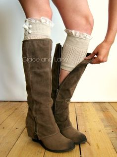 Dainty Lace Boot Cuffs 3 colors- TAN strechy knit boot topper lace trim & buttons - faux legwarmers - lace cuff - leg warmers (C10-19)