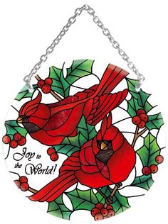 Song/Joy to the World! - Winter Song/Joy to the World! Stained Glass Cardinal, Stained Glass Birds, Stained Glass Christmas, Stained Glass Designs, Stained Glass Patterns, Stained Glass Windows, Stained Glass Fireplace Screen, Leaf Stencil, Stencils
