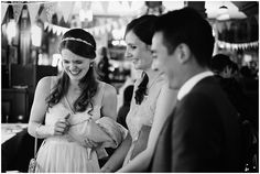 Bride laughing at Londsborough Pub wedding