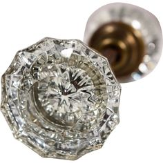 A fluted, antique glass door knob set. Dating anywhere from the late 1800s to the early 1940s, glass knobs are the most versatile of the antique knob - found at www.rubylane.com @rubylanecom