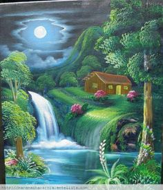 surrounded by nature and peace Nature Pictures, Art Pictures, Landscape Paintings, Watercolor Paintings, Paradise Pictures, Waterfall Paintings, Cottage Art, Paintings I Love, Naive Art