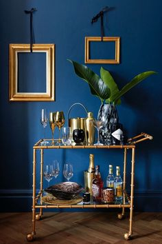 A bar-cart is a good idea now that Autumn is here. Those cosy nights in need refreshments after all. You are in the right place about art deco interior design Here we offer you the most beautiful pict Decor, Room Colors, Interior Deco, Living Room Designs, Bar Cart Decor, Home Decor, Room Design, Home Deco, Blue Interior