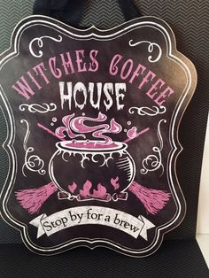 Halloween Witches Coffee House Sign on Mercari Halloween Wood Signs, Halloween Witches, Fall Crafts, Diy And Crafts, Coffee Art, Home Signs, Hallows Eve, Tea Time, Brewing