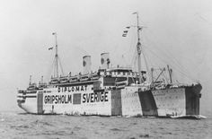 The Swedish liner Gripsholm was chartered by the United States for repatriation services. It was painted white with the name of the vessel, the Swedish flag and the words Sverige and Diplomat painted prominently on port and starboard.