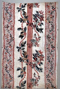 Textile from India, circa  1750–1800. Its medium is cotton and its technique is mordants for 2 reds, purple and black applied by pen and brush; madder dyed; blue and yellow added by brush; chintz on plain weave. Its dimensions are Warp x Weft: 60.5 x 33 cm (23 13/16 x 13 in.)Cooper Hewitt, Smithsonian Design Museum.