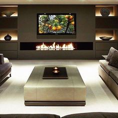 Best Fireplace TV Wall Ideas – The Good Advice For Mounting TV above Fireplace. : Best Fireplace TV Wall Ideas – The Good Advice For Mounting TV above Fireplace – Tv unit designs Wall Mounted Fireplace, Tv Above Fireplace, Living Room With Fireplace, Living Rooms, Fireplace Stone, Tv Rooms, Linear Fireplace, Basement Fireplace, Fireplace Shelves