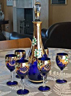 Bohemian Czech DECANTER SET Raised porcelain flowers MOSER hand gilded stemware